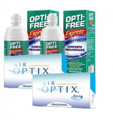 Pack 2 Air Optix 6 + 2 Opti Free Express