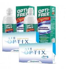 Pack 2 Air Optix 6 + 2 Opti Free Express