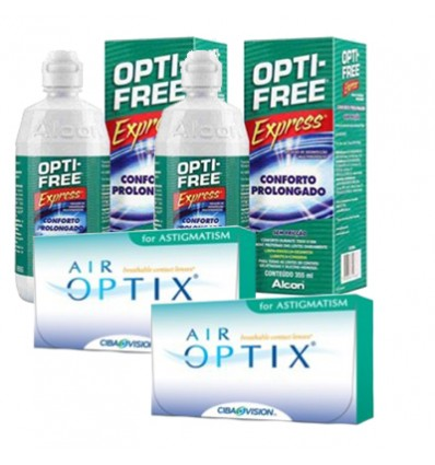 Pack 2 Air Optix Astigmatism 6 + 2 Opti Free Express